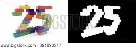 Colorful Toy Plastic Number Twenty-five (number 25) From Building Bricks With Alpha Channel And Shad