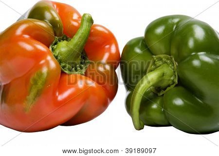 two peppers isolated on white background poster