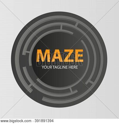 Round Labyrinth Creative Vector Logo. Maze Icon. Brainteaser Concept Sign.
