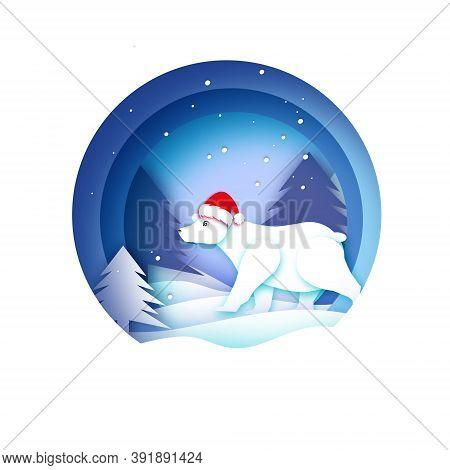 Merry Christmas Greetings Card With Polar Bear And Beautiful Winter Landscape. Ursus Maritimus. Cute
