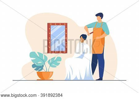 Male Hairdresser Brushing Hair Of Woman. Hair Stylist With Comb, Female Customer, Workplace Flat Vec