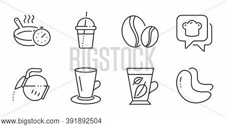 Cooking Hat, Coffee Pot And Coffee Cocktail Line Icons Set. Teacup, Cashew Nut And Frying Pan Signs.
