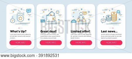 Set Of Finance Icons, Such As Loyalty Star, Wallet, Vip Shopping Symbols. Mobile Screen Banners. Cur