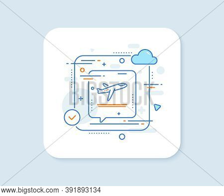 Airport Departure Plane Line Icon. Abstract Vector Button. Airplane Take Off Sign. Flight Symbol. De