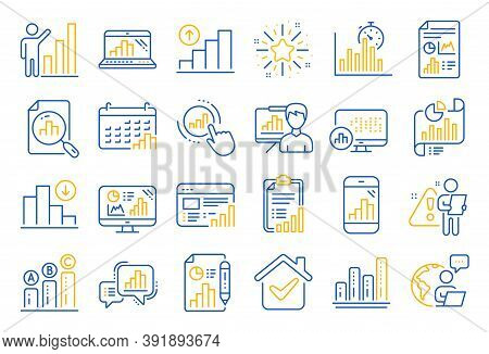 Graph Line Icons. Set Of Chart Presentation, Report, Increase Growth Graph Icons. Analytics Testing,