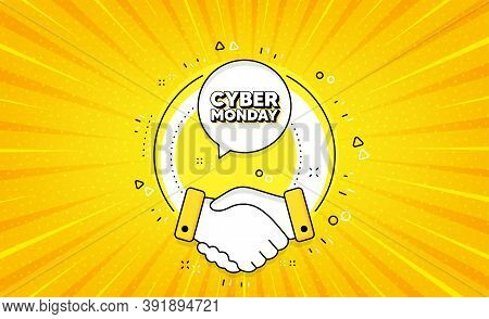 Cyber Monday Sale. Yellow Vector Button With Handshake. Special Offer Price Sign. Advertising Discou