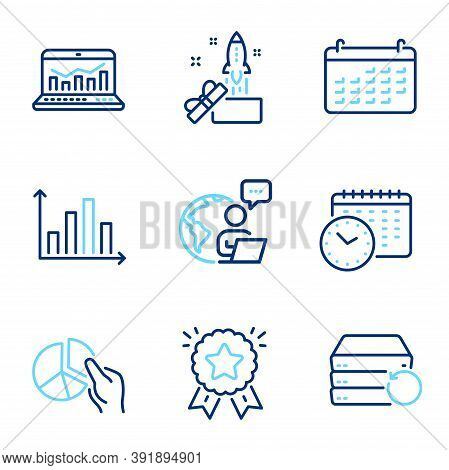 Education Icons Set. Included Icon As Web Analytics, Calendar, Innovation Signs. Diagram Graph, Cale