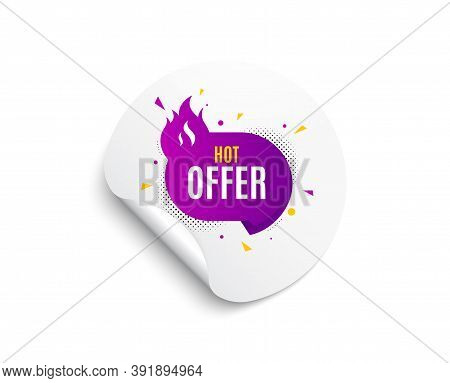Hot Offer Banner. Circle Sticker With Offer Banner. Discount Sticker Shape. Coupon Tag Icon. Round S