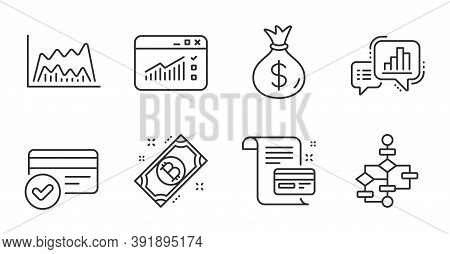 Trade Chart, Payment Methods And Bitcoin Line Icons Set. Graph Chart, Web Traffic And Money Bag Sign