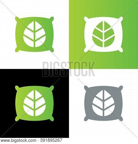 Organic Pillows Logo Concept, Natural Pillow Icon, Environmentally Friendly Pillow Symbol - Vector