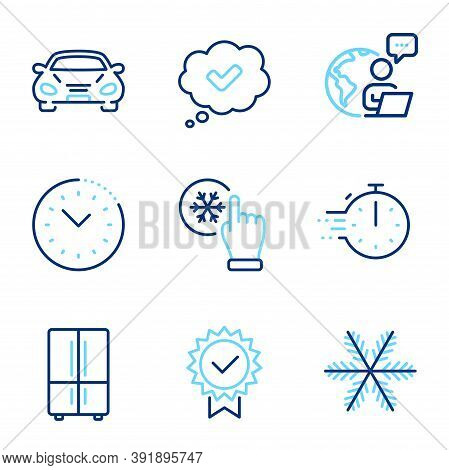 Technology Icons Set. Included Icon As Cooking Timer, Time Management, Car Signs. Approved, Snowflak