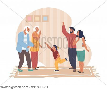 Happy Father, Mother And Daughter Visiting Their Senior Parents, Flat Vector Illustration. Homecomin