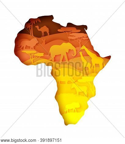 Mainland Africa Map With Wildlife, Vector Illustration In Paper Art Style.
