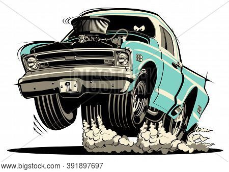 Cartoon Retro Hot Rod Isolated On White Background. Available Eps-8 Vector Format Separated By Group