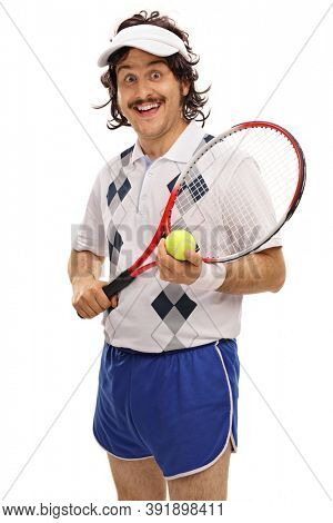 Funny man holding a tennis racket and a ball isolated on white background