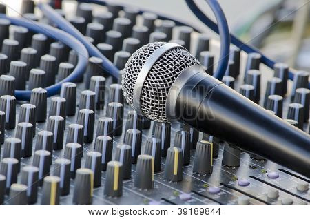 Microphone Lying On The Sound Mixer
