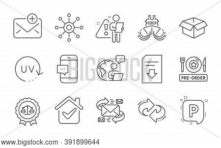 Parking, Multichannel And Smartphone Message Line Icons Set. Download File, E-mail And Justice Scale