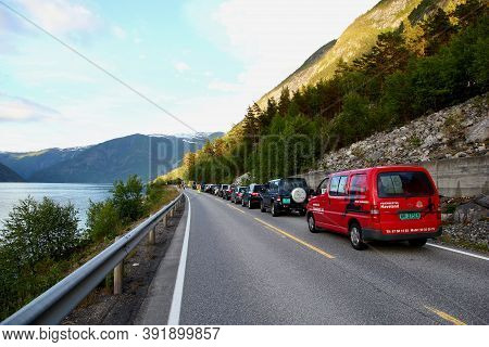 Oslo, Norway - 25 Jun 2012: The Traffic On The Road To Oslo, Norway