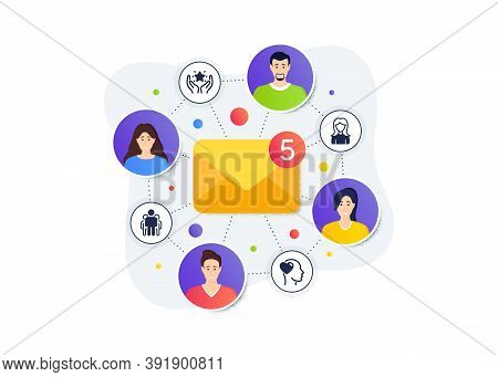 Group, Ranking And Woman Icons Simple Set. Teamwork Messages Banner. Employee Remote Work. Friend Si