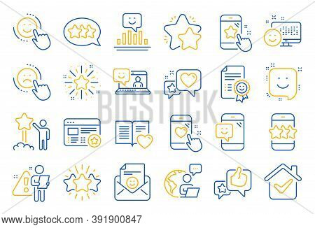 Feedback Line Icons. Set Of User Opinion, Customer Service And Star Rating Icons. Testimonial, Posit
