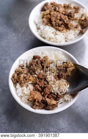 Braised Meat Over Cooked Rice, Famous And Delicious Street Food In Taiwan.