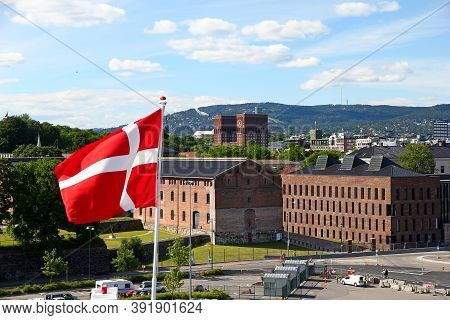 Oslo, Norway - 27 Jaun 2012: The Flag In Oslo City In Norway