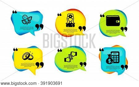 Oculist Doctor, Wedding Rings And Money Wallet Icons Simple Set. Speech Bubble With Quotes. Click Ha