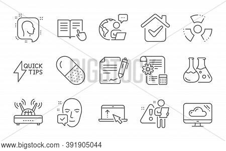 Swipe Up, Face Accepted And Chemistry Lab Line Icons Set. Settings Blueprint, Quickstart Guide And C