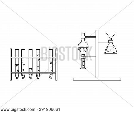 Set With Medical Laboratory Equipment. Holder With Test Tube. Soleted Vector Outline Illustration