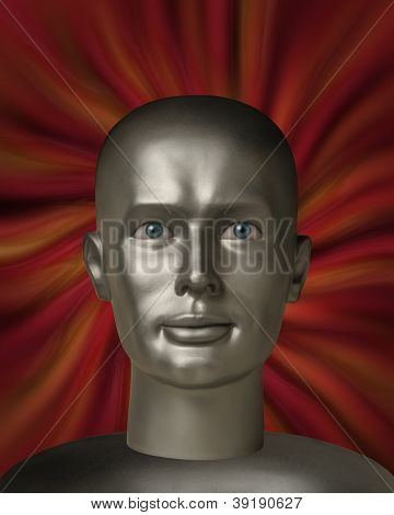 Android Robot Head With Human Eyes In A Red Vortex