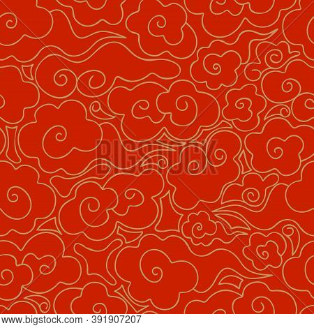 Abstract Seamless Pattern Of Golden Clouds On A Red Background. Chinese Traditional Ornament. Vintag