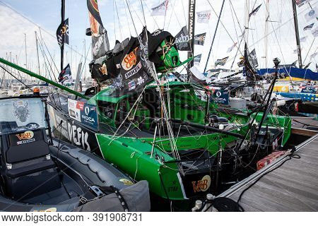 Les Sables D'olonne, France - October 19, 2020: Maxime Sorel Boat (v And B - Mayenne) On The Vendee