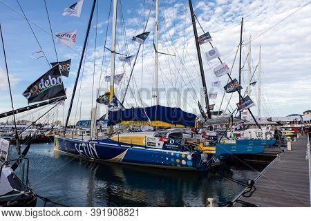 Les Sables D'olonne, France - October 19, 2020: Manuel Cousin Boat (groupe Setin) On The Vendee Glob
