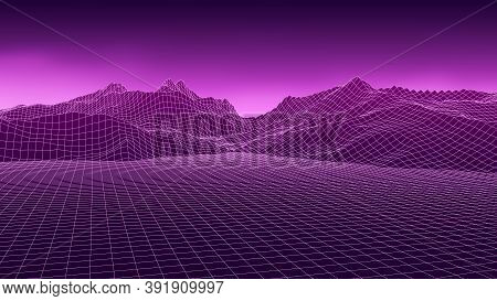 Vector Wireframe 3d Retro Landscape. Technology Grid Illustration. Network Of Connected Dots And Lin