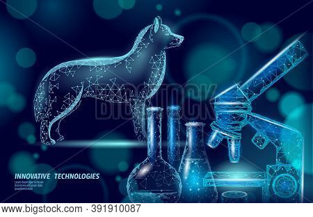 Dog Pet Standing With Microscope Lab. Low Poly Polygonal 3d Dog Silhouette Companion. Animal Medical