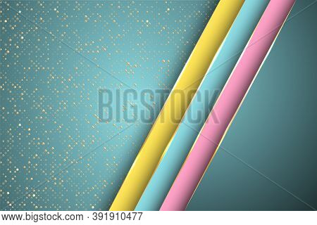 Gold Halftone Dots And Inclined Ribbon Stripes Banner Vector Design. Glossy Business Background Temp