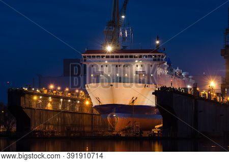 Passenger Ferry - Ship In The Shipyard Under Repair Dock