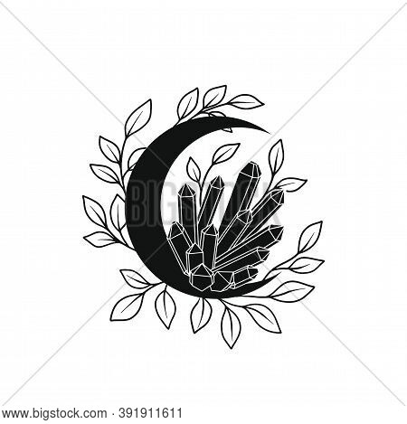 Floral Moon And Crystals Vector Frame. Tatoo Doodle Wreath. Mystical Boho Celestial Poster. Vector I