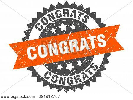 Congrats Stamp. Grunge Round Sign With Ribbon