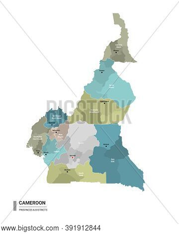 Cameroon Higt Detailed Map With Subdivisions. Administrative Map Of Cameroon With Districts And Citi