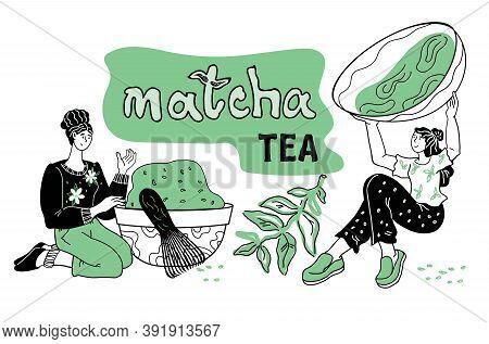 Banner With Women Enjoying Matcha Green Tea Drink Vector Illustration Isolated.