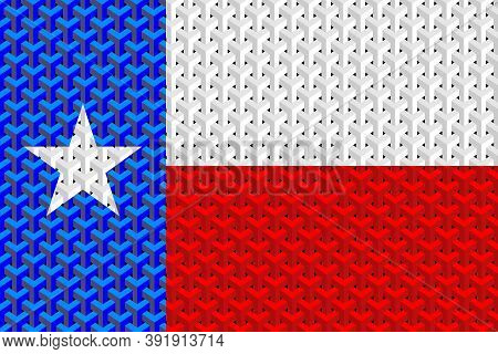Abstract Flag Of The Texas - Illustration,  Three Dimensional Flag Of Texas