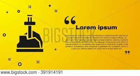 Black Sword In The Stone Icon Isolated On Yellow Background. Excalibur The Sword In The Stone From T