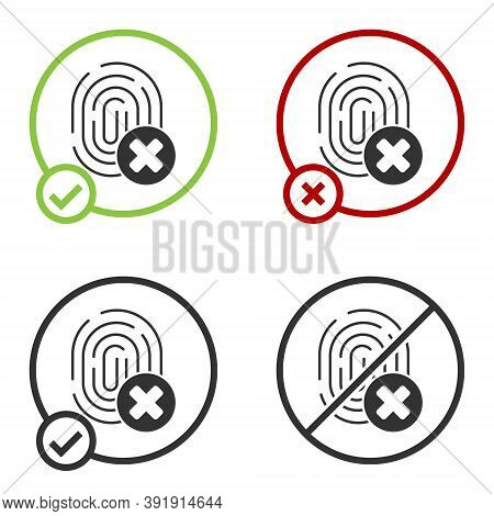 Black Cancelled Fingerprint Icon Isolated On White Background. Access Denied For User Concept. Error