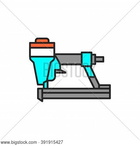Electric Staple Gun Color Line Icon. Pictogram For Web Page, Mobile App, Promo.