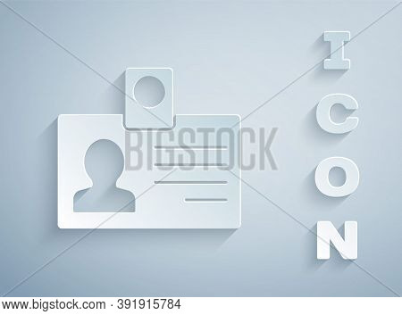 Paper Cut Identification Badge Icon Isolated On Grey Background. It Can Be Used For Presentation, Id