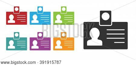 Black Identification Badge Icon Isolated On White Background. It Can Be Used For Presentation, Ident