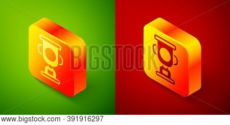 Isometric Award Cup Icon Isolated On Green And Red Background. Winner Trophy Symbol. Championship Or
