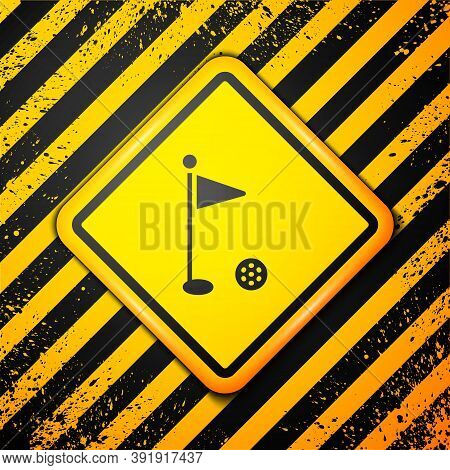 Black Golf Flag Icon Isolated On Yellow Background. Golf Equipment Or Accessory. Warning Sign. Vecto