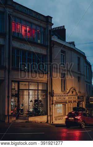 Frome, Uk - October 04, 2020: View Of Closed Shops In Frome, A Market Town In The County Of Somerset